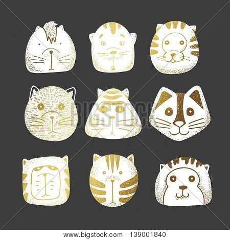Cats set of cute doodle. Kids characters animals, style of retro engraving vector. Stylish muzzle. Emotions illustration design