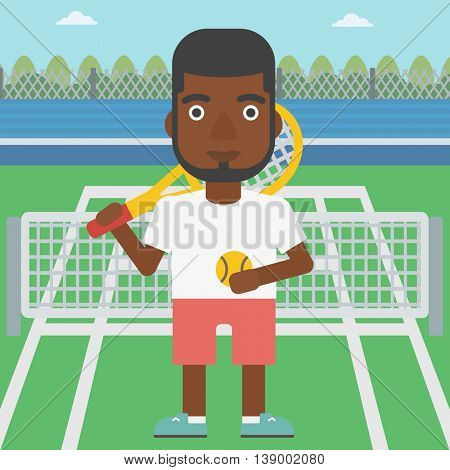 An african-american tennis player standing on the tennis court. Male tennis player holding a tennis racket and a ball. Man playing tennis. Vector flat design illustration. Square layout.