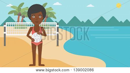 An african-american sports woman holding volleyball ball in hands. Sportive beach volleyball player standing at the shore with voleyball net. Vector flat design illustration. Horizontal layout.