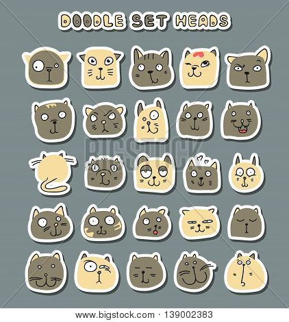 Cats cute doodle. Funny animals pets isolated.