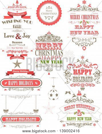Christmas and happy new year retro typography for you design