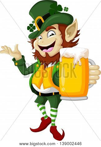 Happy Leprechaun with beer for you design