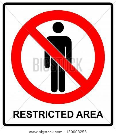 Vector Circle Prohibited Symbol Restricted Area For Member Only or No Enter Sign in Caution Zone isolated on white