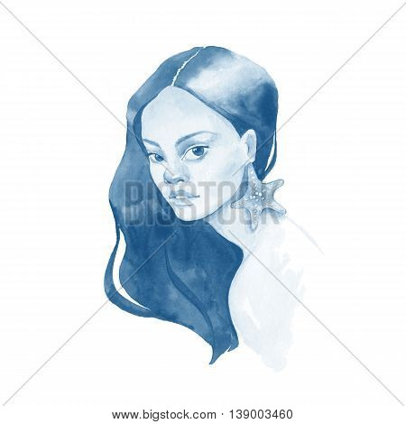 Mermaid. Watercolor portrait of a young woman. Beautiful female face