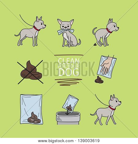 Clean up after your dog information vector illustration
