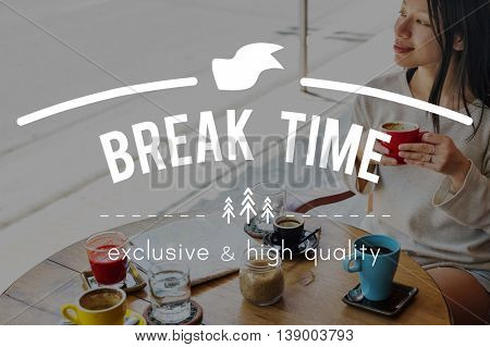 Break Time Cafe Coffee Breakfast Chilling Out Concept