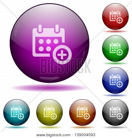 Set of color Add to calendar glass sphere buttons with shadows.