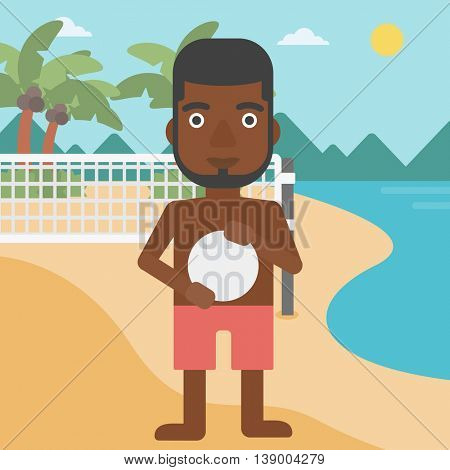 An african-american sportsman holding volleyball ball in hands. Beach volleyball player standing at the shore with voleyball net. Vector flat design illustration. Square layout.