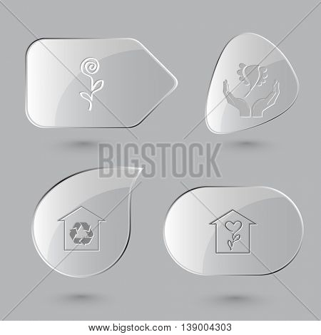 4 images: flower, bird in hands, protection of nature, flower shop. Nature set. Glass buttons on gray background. Vector icons.