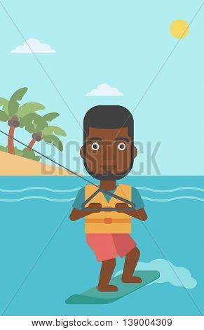 An african-american sportsman wakeboarding on the sea. Wakeboarder making tricks. Man studying wakeboarding. Man riding wakeboard. Vector flat design illustration. Vertical layout.