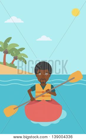 An african-american sportsman riding in a kayak in the sea. Young man traveling by kayak. Male kayaker paddling. Man paddling a canoe. Vector flat design illustration. Vertical layout.