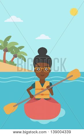 An african-american sports woman riding in a kayak in the sea. Young woman traveling by kayak. Female kayaker paddling. Woman paddling a canoe. Vector flat design illustration. Vertical layout.