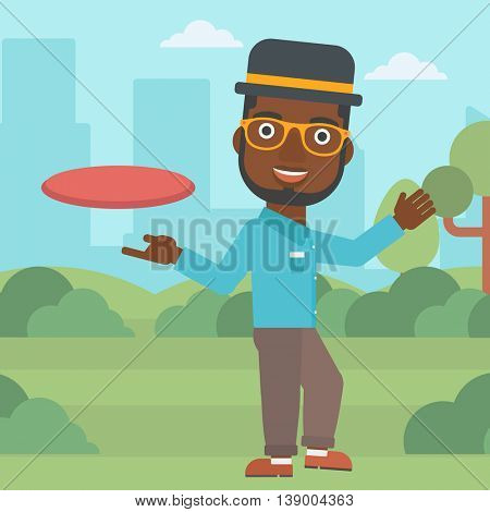 An african-american man playing flying disc in the park. Man throwing a flying disc. Sportsman catching flying disc outdoors. Vector flat design illustration. Square layout.