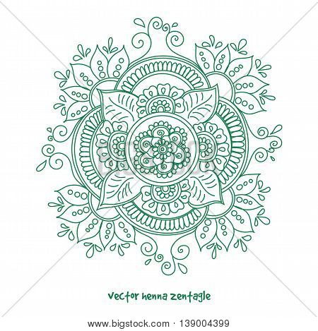 Vector abstract mandala of tattoo henna. Isolated zentagle for design green on white background.