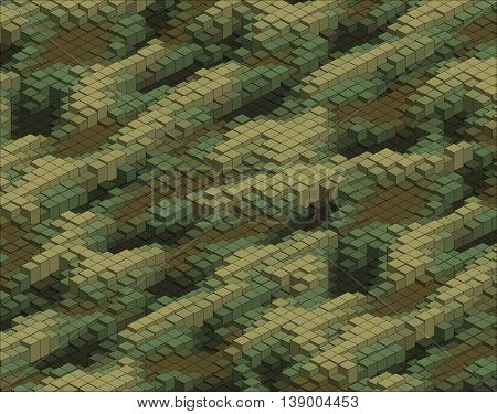 Isometric Graphic Pattern. Abstract 3D Geometric Camo Background