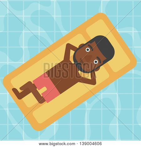 An african-american man relaxing on the air bed in the swimming pool. An african-american man enjoying his vacation. Vector flat design illustration. Square layout.