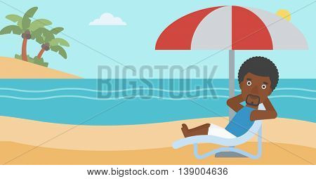 An african-american man sitting in a chaise longue on the beach. An african-american man relaxing while sitting under umbrella on the beach. Vector flat design illustration. Horizontal layout.