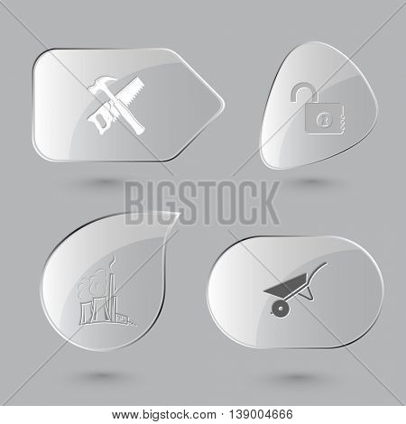 4 images: hand saw and hammer, opened lock, thermal power engineering, wheelbarrow. Industrial tools set. Glass buttons on gray background. Vector icons.