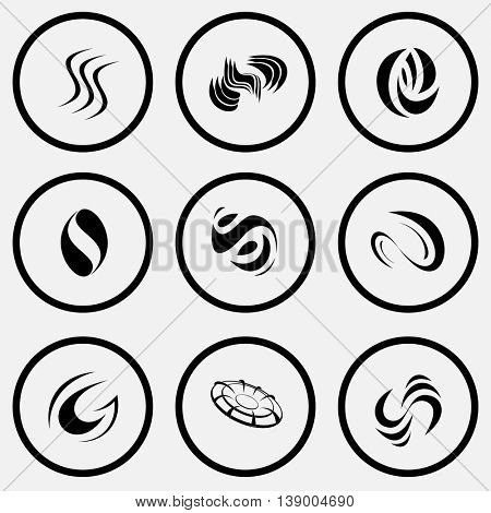 9 images of unique abstract forms. Black and white set vector icons.