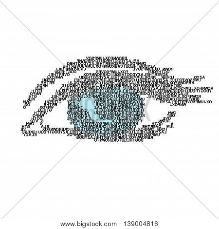 Illustration of the eye made of words vector. EPS
