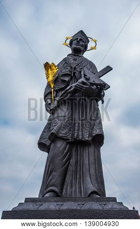 Statue of St.John Nepomuk At Charl Bridge - Prague Czech Republic