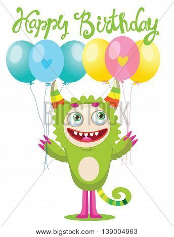 Cute Monster With Color Balloons Vector. Cartoon Cute Monster Vector Illustration. Funny Greeting Card.