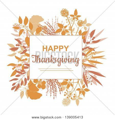 Flat design style Happy Thanksgiving card template. Vector colorful frame banner, flyer isolated on white