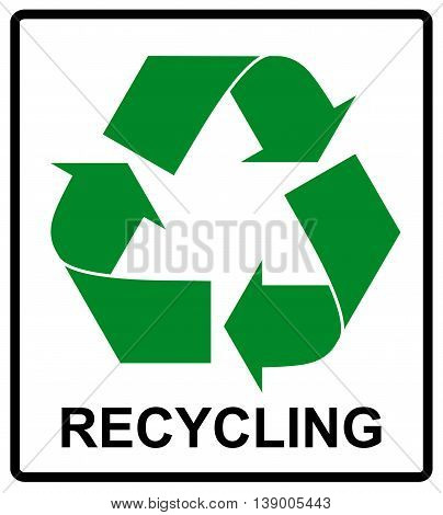 Recycle Green Symbol. Eco flat vector illustration isolated on white.