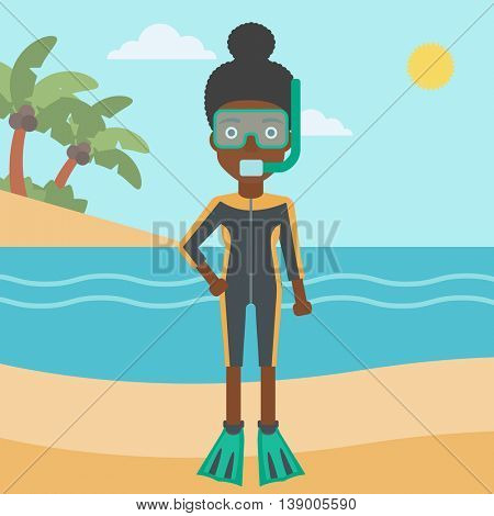 An african-american woman in diving suit, flippers, mask and tube standing on the beach. Female scuba diver on the beach. Woman enjoying snorkeling. Vector flat design illustration. Square layout.