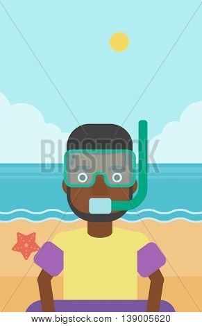 An african-american man in mask, tube and rubber ring standing on the background of beach and sea. Man wearing snorkeling equipment on the beach. Vector flat design illustration. Vertical layout.
