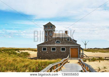 Beach house at Cape Cod, Massachusetts, USA.