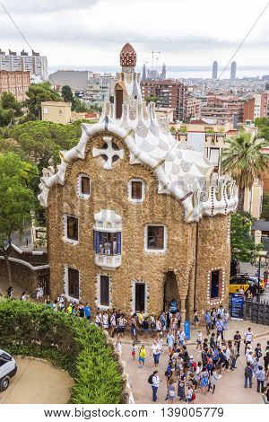 BARCELONA SPAIN - JULY 3 2016: Park Guell in Barcelona. Park Guell (1914) is the famous architectural town art designed by Antoni Gaudi.