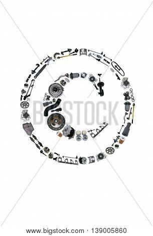 Copyright icone with auto parts for car. Spare parts for car for shop, aftermarket OEM. Many auto parts isolated in copyright icone