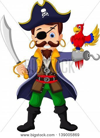 Pirate cartoon was standing holding a drawn sword with a parrot perched on hand for you design