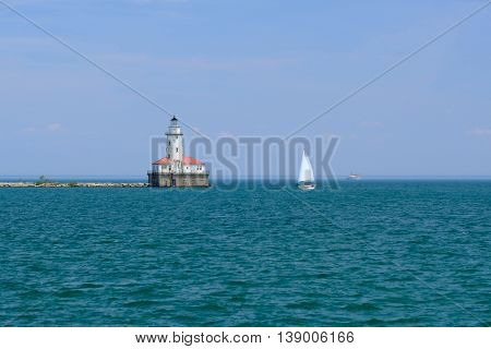 Chicago Harbor Lighthouse, built in 1893, Lake Michigan, Chicago, IL, USA