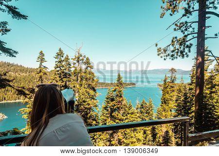 Girl At Emerald Bay Vista Point, Lake Tahoe