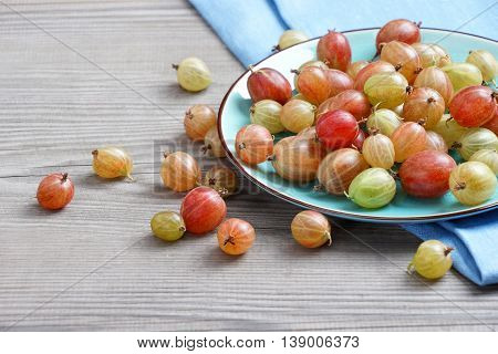 Ceramic plate with gooseberries at old wooden table. Close up high resolution product. Harvest Concept