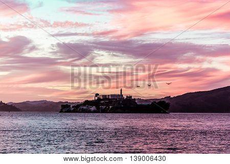 Colorful Sunset At Alcatraz Prison In San Francisco, California
