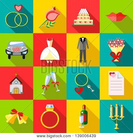 Wedding icons set in flat style. Ceremony set collection vector illustration