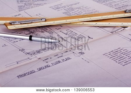 Drawing Equipment With Detailed Architects House Plans