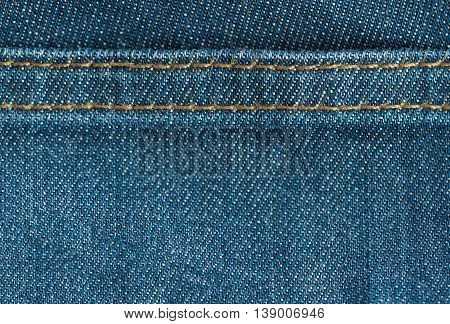 Blue denim jeans texture with seam textile background
