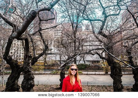 Girl In Front Of Guggenheim Museum At Manhattan, New York City