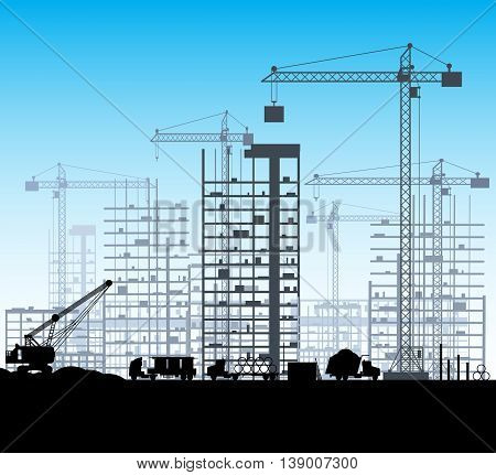 Construction site with buildings and cranes. skyscraper under construction. excavator, dump truck, tipper. vector illustration silhouette and blue sky