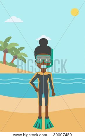 An african-american woman in diving suit, flippers, mask and tube standing on the beach. Female scuba diver on the beach. Woman enjoying snorkeling. Vector flat design illustration. Vertical layout.