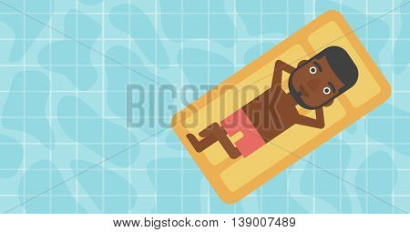 An african-american man relaxing on the air bed in the swimming pool. An african-american man enjoying his vacation. Vector flat design illustration. Horizontal layout.