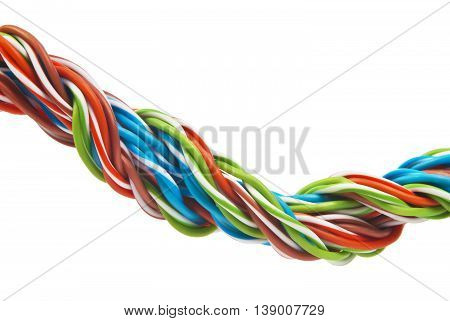color cable close-up isolated on white background