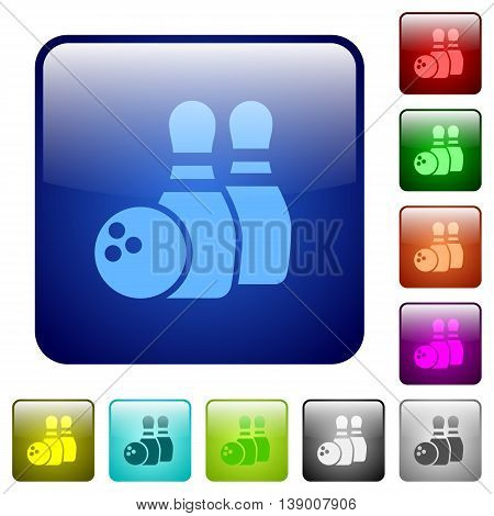 Set of bowling color glass rounded square buttons
