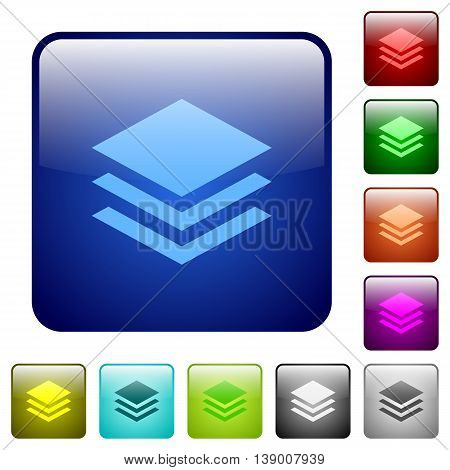 Set of layers color glass rounded square buttons