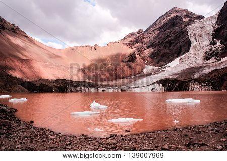 Glaciar El Morado At Cordillera Dos Andes In Santiago, Chile