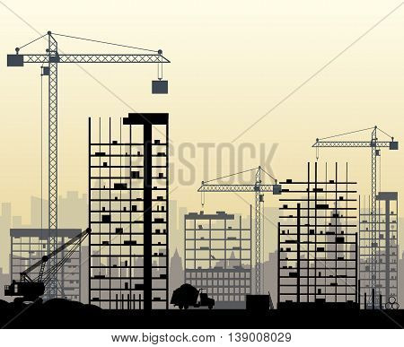 Construction site with buildings and cranes. skyscraper under construction. excavator, dump truck, tipper. vector illustration, foggy sky and cityscape silhouette
